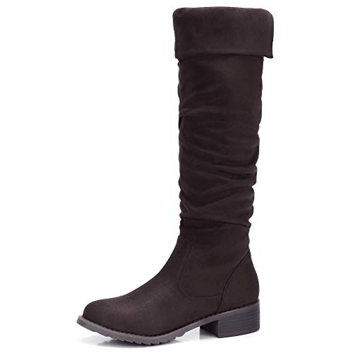 CAMEL CROWN Women's Ruched Slouchy Knee-High Boot Fold Over Cuff Side Zip Chunky Low Heel Winter Fashion Boot