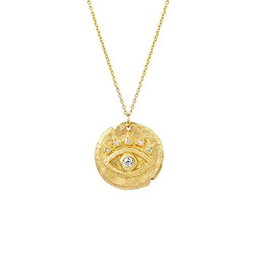 Collar de plata de ley 925 bañada en oro de 18 quilates, joya para mujer (oro)