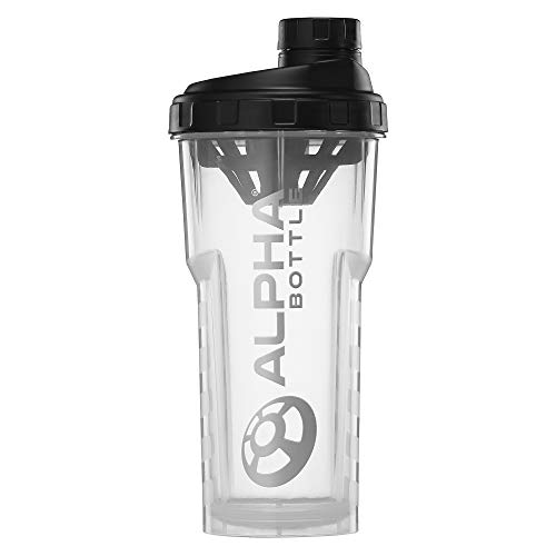 Alpha Bottle V2 – Anti-Bacterial BPA and DEHP Free Protein Shaker with BioCote Technology (Clear, 750ml)