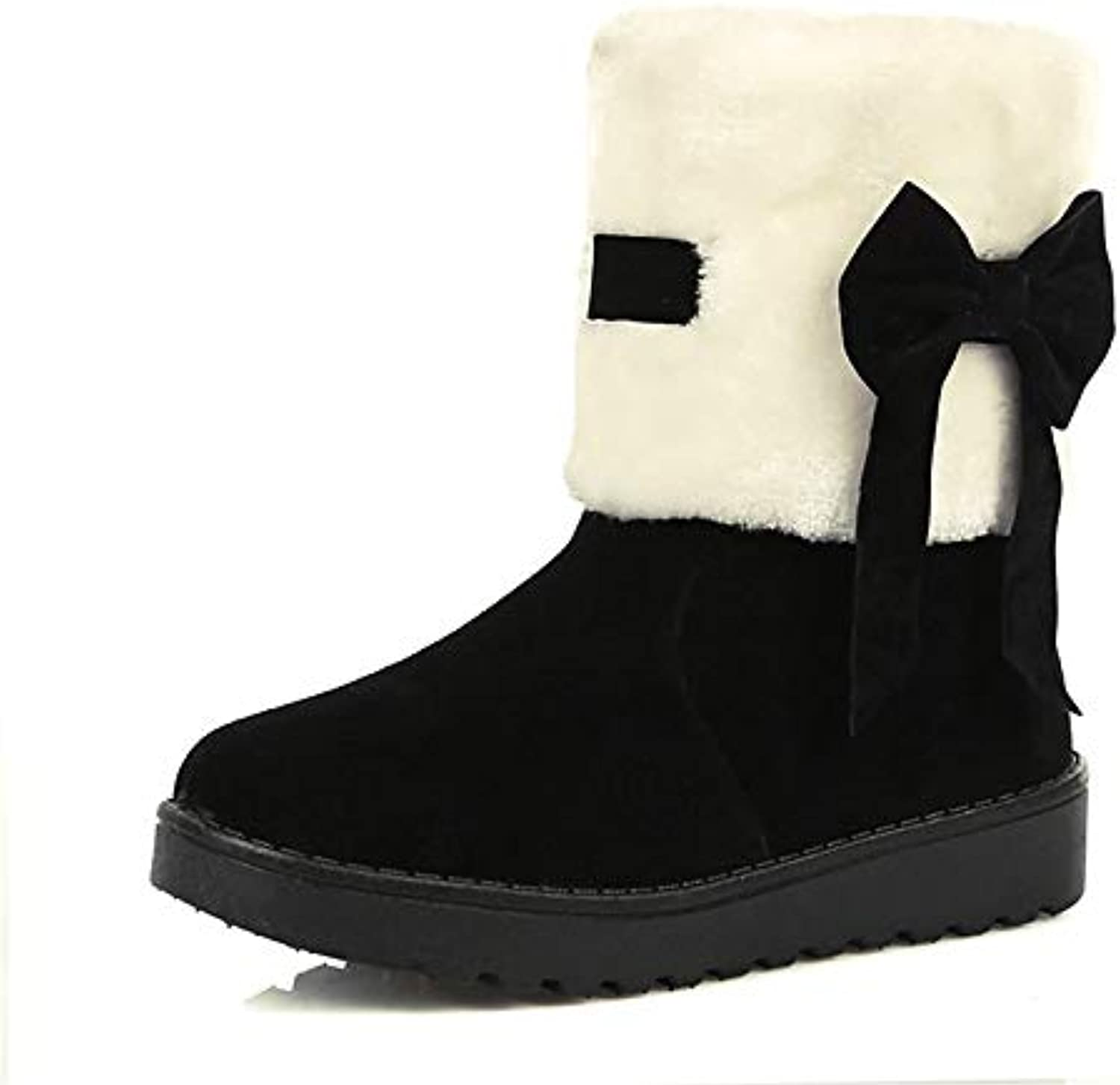 Women's Fashion Boots Synthetics Winter Boots Flat Heel Round Toe MidCalf Boots Bowknot Black Wine   Almond Party & Evening