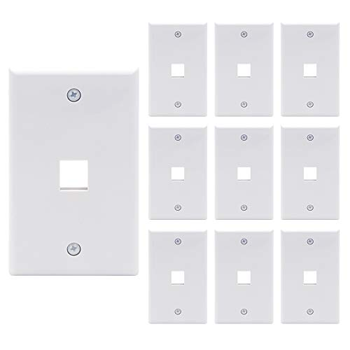 VCE 1 Port Keystone Wall Plate 10-Pack Single Gang Wall Plate for Keystone Jack and Modular Inserts in White - UL Listed