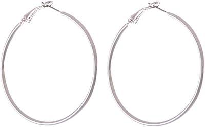 behave donne Orecchini circolari fatto di Base metallica - argento - 5cm dimensione