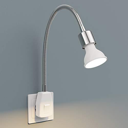 ledscom.de Steckdosenlampe LESCH Leselampe Schwanenhals Schalter Chrom + GU10 LED Lampe 6,2W warmweiß 3-Stufen Dimmen: max. 540lm