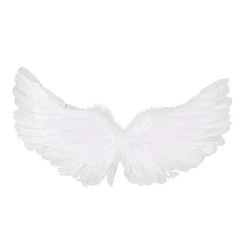 iixpin Engelsflügel Cosplay Kostüm Einfarbige Flügel für Kinder 60x33 cm/Erwachsene 80x40 cm Weiß Fasching Karneval Performance Verkleidung Weiß(Typ A) Small