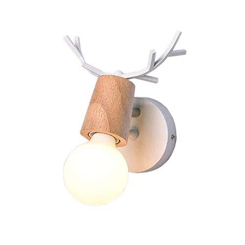 Lampe murale au design vintage créatif en bois de cerf - Décoration intérieure - Edison - Lampe de chevet - Lampe murale pour chambre à coucher, lit, mur de style jeune - Lampe murale murale - Lampe murale - E27 (blanc)