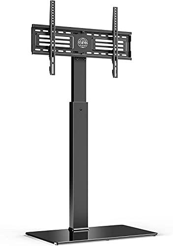 QUERT Soporte para TV de Piso para 32'- 65' 6 Alturas Ajustables Soporte Giratorio de 60 ° Organizador de Cables Sostiene 40 kg / 88 LB con Base de Vidrio máx.