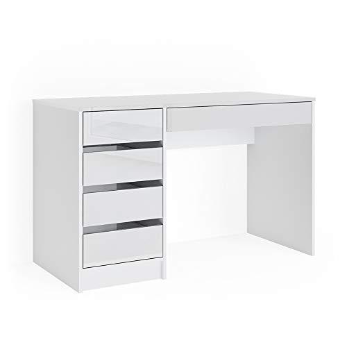 Vicco Schreibtisch Sherry weiß Hochglanz Bürotisch Computertisch 5 Schubladen