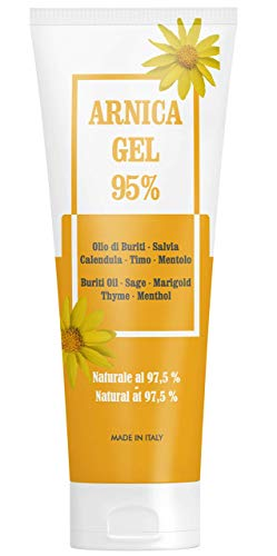 Arnica Gel 95% - 100 ml - Apaisant grâce à l'Arnica Montana, aux huile de Buriti, extraits de Sauge et de Calendula, à l'huile essentielle de Thym et au Menthol - Naturel 97,5%
