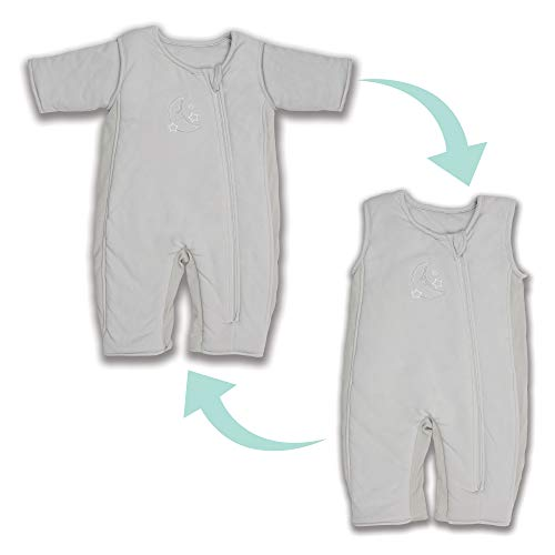 Tranquilo Swaddle Transition Baby Sleepsuit  Breathable with mesh Panels - 2-in-1 Design Easily Converts from Sleepsuit to Sleep Vest - Zipper Closure, 3-6 Months, Grey