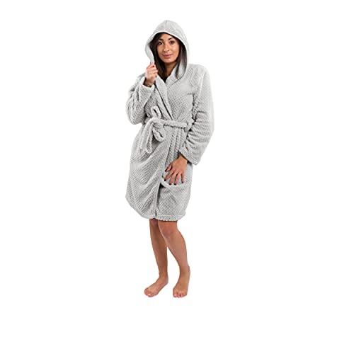 Clarysse Bademantel Damen Fleece, Weicher Morgenmantel für Damen mit Kapuze, Gröβe S/M, grau