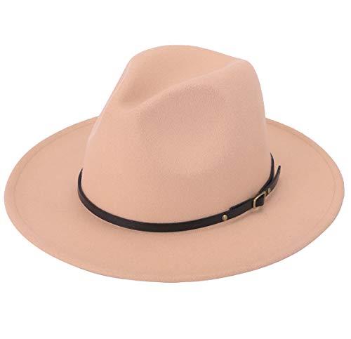 Lanzom Women Lady Retro Wide Brim Floppy Panama Hat Belt Buckle Wool Fedora Hat (Camel, One Size)