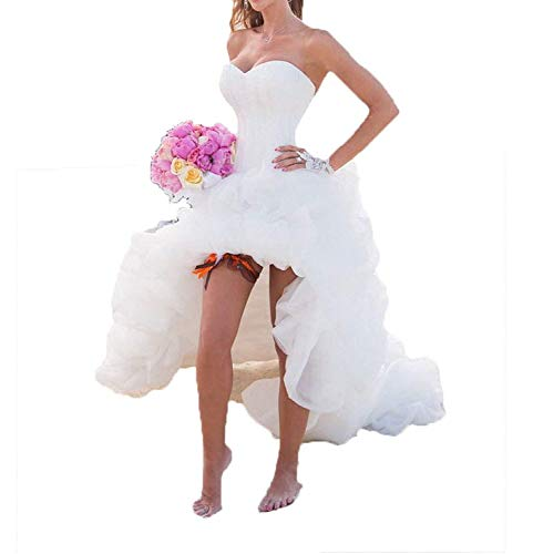 Cloverbridal Elegant Damen Lang Hochzeitskleid Weiß A Linie Hinten Lang Vorne Kurz Hochzeitskleider Brautkleid Große Größen mit SchleppeWeiß 38