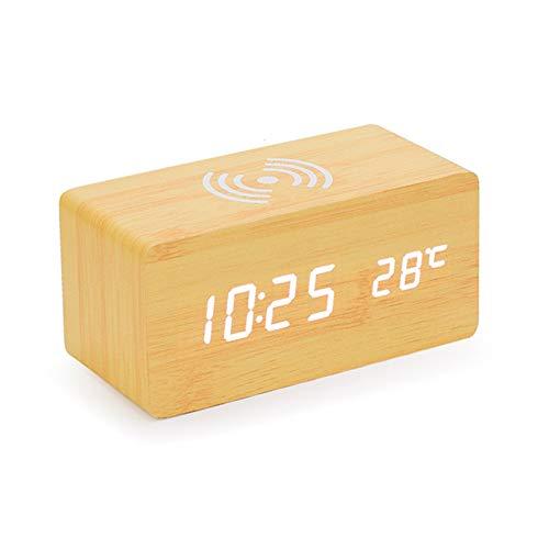 Rabbfay Multifunción Inalámbrico Cargador con Alarma Reloj y La Temperatura Monitor, 4 en 1 Cargando Estación Muelle Compatible por iWatch y iPhone 11 / XS/XR/X / 8,Wood Color