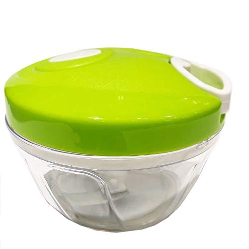 Kräuterhacker Zwiebelhacker Universalzerkleinerer mit 3 Messern und Seilzug, Kunststoff Edelstahl, ca. Ø 12.5 x 9 cm, Volumen ca. 400 ml, transparent weiß grün