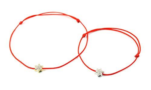 14K Rose Gold Round Cut Natural White Diamond Star Charm Adjustable Cord Bracelet