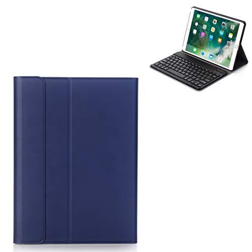 CGOH con el sostenedor (Negro) -, A09 Bluetooth 3.0 Ultra-Delgada ABS Cuero del Teclado Desmontable de Bluetooth for el iPad de Aire/Pro 10,5 Pulgadas (2019) DIY (Color : Dark Blue)