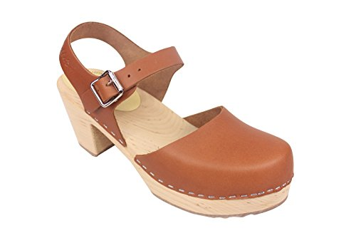 Lotta From Stockholm Women's Highwood Tan Ankle-High Leather Clogs - 9M