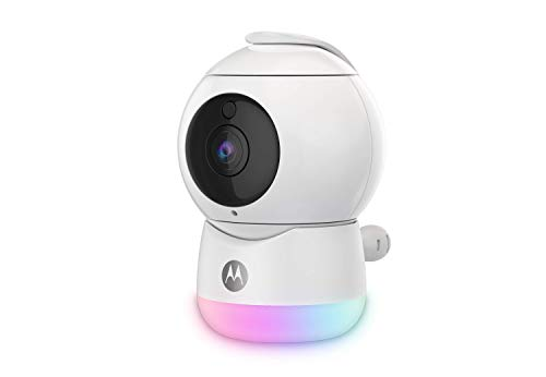 Motorola Peekaboo - Cámara de Video para Bebés Full HD WiFi con Luz Nocturna - Temperatura, Panorámica, Escaneo, Zoom, Inclinación, Conversación de 2 Vías, Nanas - Storage Local y Cloud - Blanco