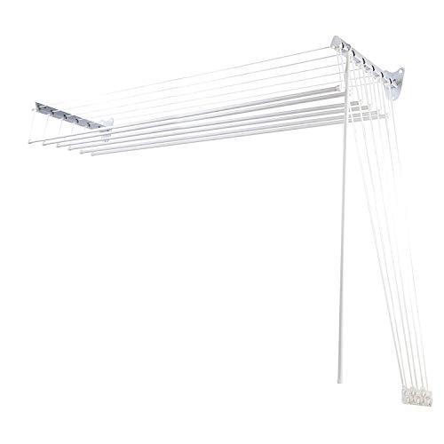 Apex su e Giu stendibiancheria da Parete con carrucole, Metallo, Bianco, 30 x 140 x 30 cm