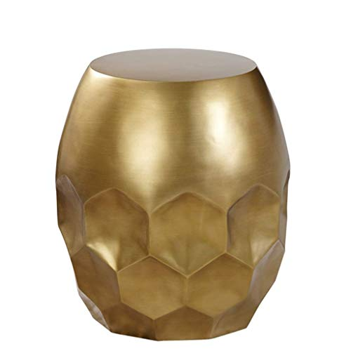 YLCJ Small Round End Table Living Room Fiberglass Accent Side Table Drum Stool Table Wine Barrel Table Heavy Duty Honeycomb Design Bar Decor (Color : Gold Size : S)