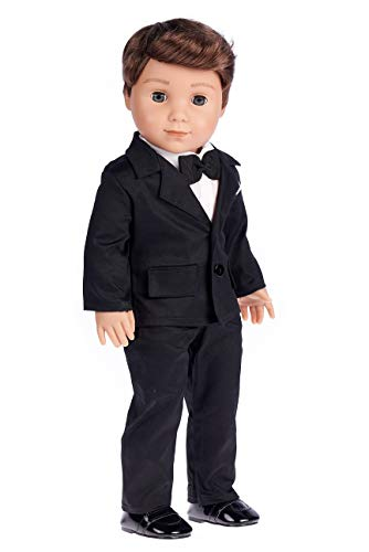 Tuxedo - 5 Piece Tuxedo Set - Clothes Fits 18 Inch American Girl Doll - Black Jacket, Pants, Belt, White Shirt and Dress Shoes (Dolls not Included)