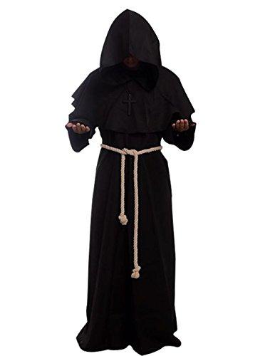 Friar Medieval Hooded Monk Renaissance Priest Robe Costume Cosplay Black