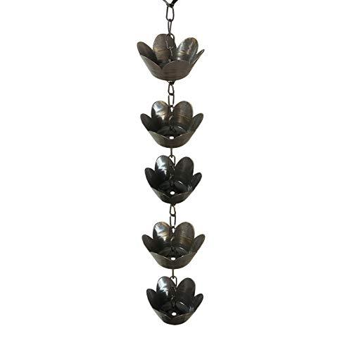 DIYARTS Cadena de Canalón de Lluvia Cadena de Metal Colgador de Flores Kit de Cadena de Lluvia Agua hacia Abajo de la Cadena para la Colección Copa Extensión de Bajante