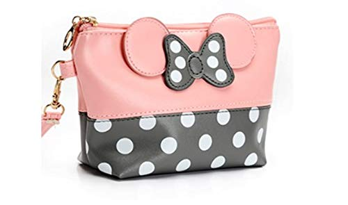 Cartoon Leather Travel Makeup Handbag, Cute Portable Cosmetic bag Toiletry (Pink)