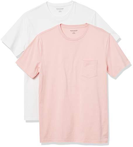 Amazon Essentials Pack de 2 Camisetas Ajustadas con Bolsillo y Cuello Redondo Fashion-t-Shirts, Rosa Claro/Blanco, L