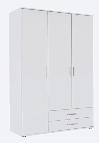 Rauch Möbel Rasant, Schrank Drehtürenschrank inklusive 2 Schubladen, 3-türig, Zubehörpaket Basic 3 Einlegeböden, 1 Kleiderstange, Weiß, 52 x 127 x 188 cm