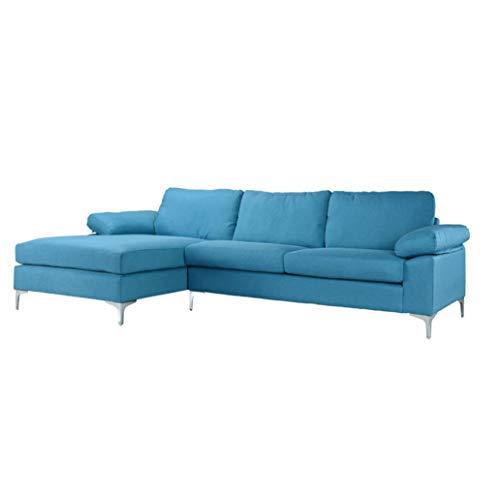 BHDesign Joy hoekbank, modern, breed, stof, blauw