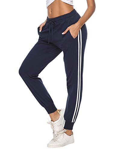 Hawiton Pantalon de Sport Femme 100% Coton Stripe Pantalon décontracté Pantalon de Jogging Pantalon d'entraînement Fitness Taille Haute Long Coton,A- Bleu,M