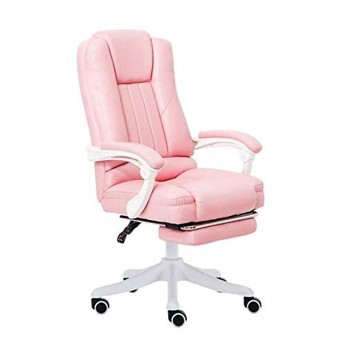 HIZLJJ Reclinables de cuero silla de oficina - silla moderna Ejecutivo ajustable balanceo giratorio Reposacabezas con reposapiés retráctil escritorios muebles lumbar descanse pequeña gran giratoria de