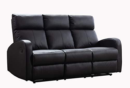 Furnituremaxi Boston Brown Leather 3 Seater Recliner Sofa