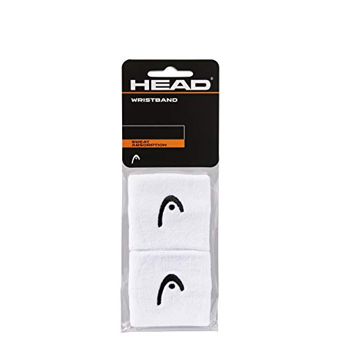 HEAD Sweat Band - Tennis Sweatbands for Women and Men - 2.5 Inch Sweat Absorption Wrist Bands, White