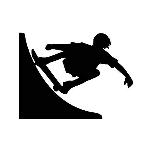 DUC951 Aufkleber für Skateboard-Halfpipe aus Vinyl, 14 x 10,2 cm, Schwarz