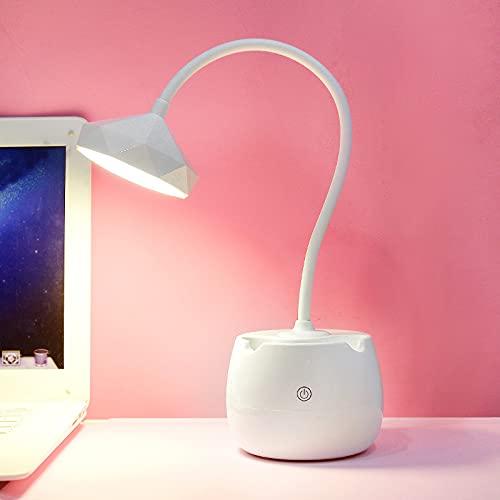 Led lámpara de protección de ojos chica escritorio lámpara de protección de ojos cargado con dos usos nórdico pequeña lámpara de mesa 47*11 cm lámpara geométrica cabeza blanca