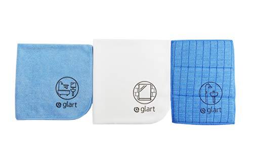 Glart 4PAS 3er Set Microfasertücher für Bad, WC, Dusche, Badezimmer, Sanitär, Haushalt, gründlicher als Baumwolle oder einfache Putztücher, Küchentücher, Geschirrtücher