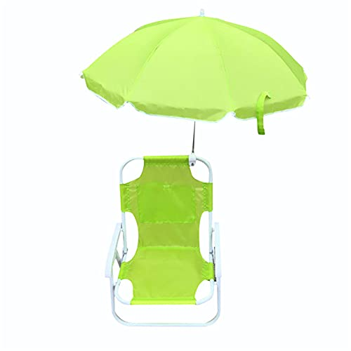 Naticy Outdoor Foldable Kids Beach Chairs with Shading Umbrellas, Portable Deck Chairs with Carry Bag and Drink Holder for Children, Blue/Green/Yellow/Red