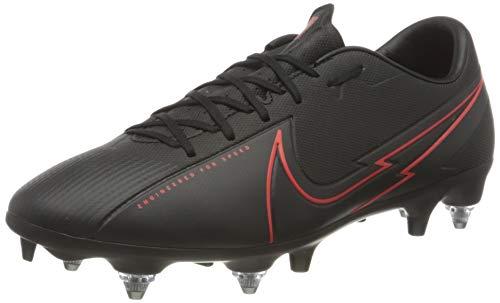 Nike Unisex Mercurial Vapor 13 Academy SG-PRO Anti-Clog Traction Soccer Shoe, Black/Black-Dark Smoke Grey-Chile Red, 42 EU