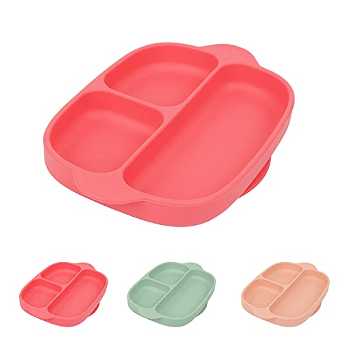 Suction Plate for Toddlers, ACwiwil one Piece Complete Silicone Food Plate, Food Grade Microwave Oven Safe, Suitable for Most Table and HIGH Chairs, Feeding Pink Plate for Kids