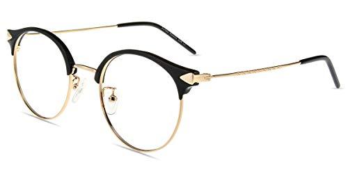 Firmoo Lesebrille mit Blaulichtfilter für Damen Herren, Anti Blaulicht Computerbrille mit Sehstärke, Runde Lesehilfe Sehhilfe Brille Blendfrei Kratzfest, Rahmenbreite 133mm-Mittel (Schwarz-Gold, 0.0x)
