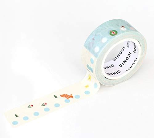 【ICONIC DESIGN】アイコニック マスキングテープ チェック 2個セット (011 チェックリスト) マステ セット アレンジ 活用 ラッピング イラスト 定規 テープ デコ