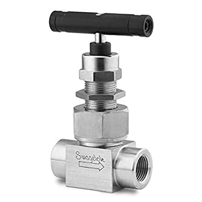 """Swagelok""""Whitey"""" SS-3NBF2-G Severe Service Union Bonnet Needle Valve, (2-Way), Inlet/Outlet : 1/8"""" Female : NPT, Maximum Pressure : 6,000 psi, Material : 316 Stainless, Option : Grafoil Packing by Swagelok"""