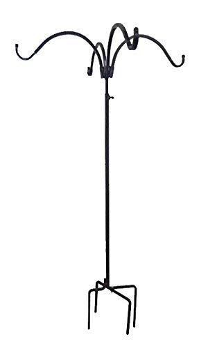 Erva Adjustable Four Hanger Shepherd Hook, Black, 4.5' to 7' - Made in The USA