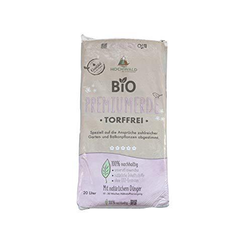 Hochwald Bio Premiumerde torffrei mit Dünger | leichte Universalerde für Zimmerpflanzen, Balkonpflanzen und Kübelpflanzen | Bioerde mit Bodenhilfsstoffen | mit Langzeitdünger | 20 Liter