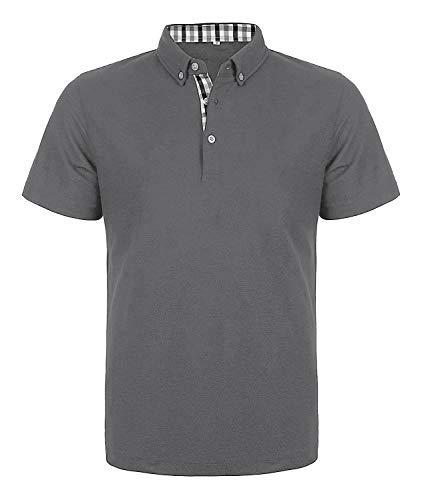 COOFANDY Herren Poloshirt Kurzarm Einfarbig Regular Fit Basic Polohemd Polo Shirts mit Kariert Polokragen