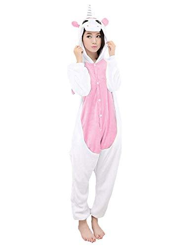 LATH.PIN Jumpsuit Tier Karton Fasching Halloween Kostüm Sleepsuit Cosplay Fleece-Overall Pyjama Schlafanzug Tierkostüme, Einhorn (Pink), M