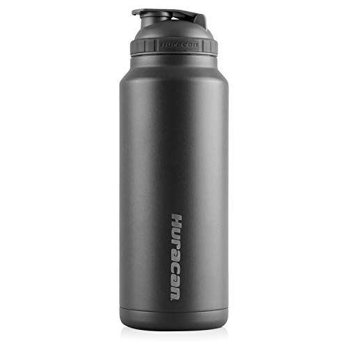 Huracan Shaker Bottle: Double Wall Vacuum Insulated Stainless Steel, Wide Mouth, Removable Mixer, Silicone Grip, BPA Free - 36oz
