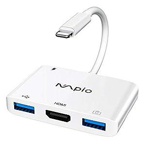 📌【4 in 1 Multifunktionsadapter】 Der MPIO HDMI-Adapter ist mit dem iPhone / iPad kompatibel und verfügt über zwei USB 2.0-Anschlüsse, eine Ladeschnittstelle und einen HDMI-Anschluss. Es unterstützt nicht nur das Streamen von Videos von Ihrem iPhone / ...
